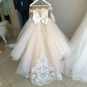 Robes de fille de fleur manches longues illusion bijou cou robe de bal robes de pageant fille papillons à la main