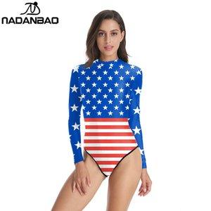 La nueva llegada del traje de baño de una pieza Loog manga con cremallera Surf traje de baño de la bandera americana impresa de las mujeres Traje de baño de nadada Y02025