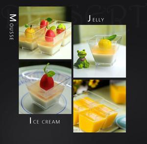 Mini tamaño de la caja de la torta desechable Mousse taza trapezoidales de vidrio transparente cuadrado fuerte crema plástico PS pudding jalea hielo postre desechable sin tapa