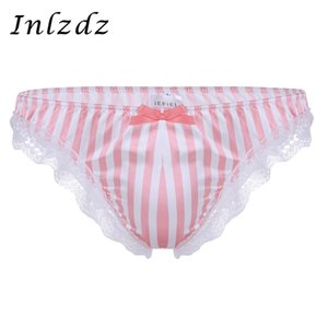 Sissy Mens Panties Lencería Soft Satin Briefs Ruffle Lace Stripe Pattern Low Rise Bikini Sissy Briefs Ropa interior Bragas masculinas