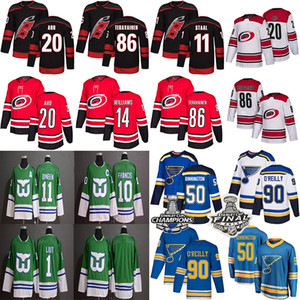 2019 St. Louis Blues الموسم كارولينا الأعاصير 91 Tarasenko 90 Ryan O'reilly 50 Binnington 20 Sebastian Aho 14Justin Williams hockey jersey