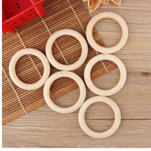 5pcs 70mm Baby Wooden Teething Rings Necklace Bracelet DIY Crafts Natural New DIY Crafts
