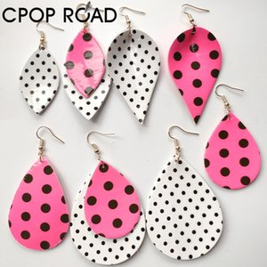 polka dots pink leather earrings for women girl bright film surface black white multishapes design dangle earrings Supply Manufacturers