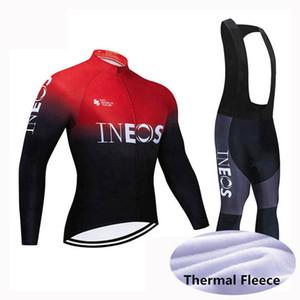 camicia moto 2020 INEOS squadra inverno che cicla jersey Set Men manica lunga in pile termico pettorina sport vestito di pantaloni strada bicicletta Outfits Y0314 uniforme
