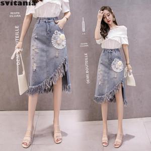 Svitania Tassel A-line Jean Skirt Women's Summer Irregular Beaded Flower Mid-calf Skirt