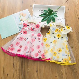 2 Colors Sweet Summer Dresses For Baby Girl Sleeveless Floral Printed Gauze Dress Children Party Suits Girls Clothing 1-4 Years