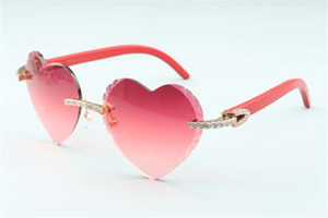 Direct sales high-quality new heart shaped cutting lens endless diamonds sunglasses 8300687, red natural wooden temples size: 58-18-135 mm