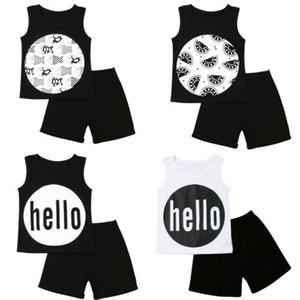 어린이 아기 소년 소녀 여름 편지 민소매 조끼와 검은 색 짧은 바지 2 개 의상 세트 아이 캐주얼 의류 탑