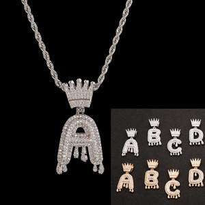 Мода 26 Letters Алмазный ожерелье Мужчины женщин Hip Hop Полный Кристалл Корона Iced Out Тяжелое ожерелье 3мм 24inch