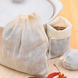 100 piezas / lote grande bolsitas de té de 8x10CM muselina de algodón con cordón bolsas reutilizables para jabón hierbas de té