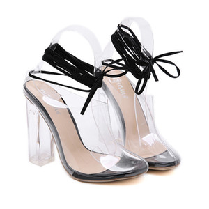 2020 sexy transparent PVC crystal heel ankle wrap shoes women designer high heels size 35 to 40