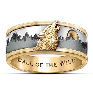 Медь гальванического серебро Изысканные Двухцветный Forest Wolf Ring, агрессивные моды Wolf Totem Универсальное кольцо для мужчин и женщин