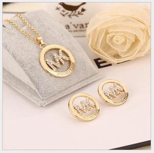 NEW 925 Подвеска ожерелья стерлингового серебра золота + серьги для женщин ювелирных изделий с цепочкой Drop Доставкой