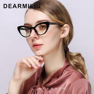 DEARMILIU 2020 Nouveau blocage des femmes de Light Blue Lunettes Cat Eye petit cadre rétro miroir plat lecture ordinateur lunettes Oculos