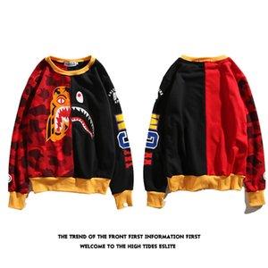 풀오버 남성과 여성 플러스 벨벳 타이거 상어 인쇄 위장 바느질 긴 소매 셔츠 힙합 느슨한 코트 라운드 넥 새로운