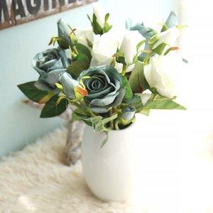 Artificial Rose Flowers Simulação Flannel Flowers Artificial Bouquet Decoração de festa em casa