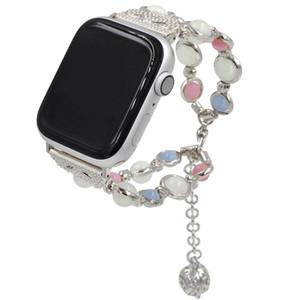 Bande de perles Agate lumineuse pour Apple Watch Band 38mm 40mm 42mm Bracelet 44mm pour Apple Iwatch Série 1 2 3 4 Bracelet Ceinture Bracelet de montre