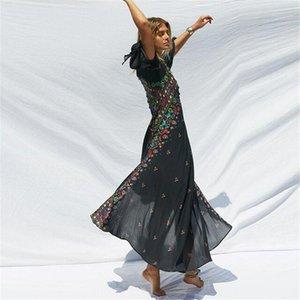 Giyim Kadın Yaz Flora Baskılı Elbiseler V yaka Flare Kol Asimetrik Tasarımcı Giyim Konumlandırma Bohemian Style yazdır