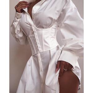 20s Designer Maglia a manica lunga Abiti Moda Estate Abiti Solid scollo a V sexy abito nero corto lavoro camicia bianca vestito da formato S-L