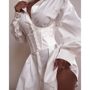 20s Designer Women Dresses Fashion Summer Long Sleeve Solid Dresses V Neck Sexy Short Dress Black White Work Shirt Dress Size S-L