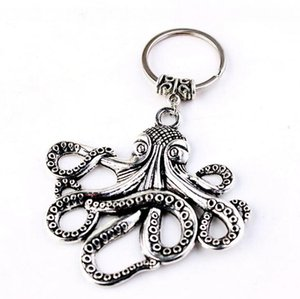 Ancient Silver Bronze Sea Monster Keychain Big octopus squid Charm Pendant key chain Men Women Holiday Gift Steampunk key ring