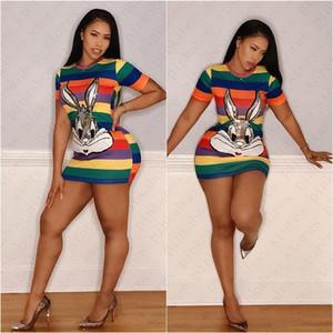 Luxo Slim Mulher Verão T-shirt Vestidos Designer listrado dos desenhos animados animal Sequins Casual Sports vestido de festa Sexy Bodycon Mini vestido D52708