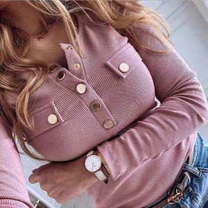 2020 Yeni Şık Metal Düğme Gömlek Bluz Kadınlar Bahar Uzun Kollu Bayan büyük beden Sexy V Yaka İnce Kazaklar kadınları başında başında