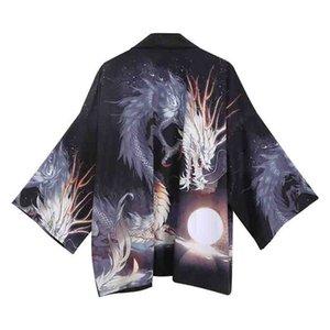 Robe oversize Robe Hommes Hip Hop Yukata Kimono Harajuku shirt style japonais Kimono Homme Satin Noir Casual Kimono Imprimer Cardigan