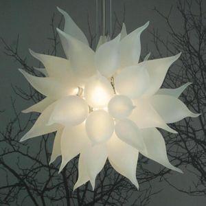 Chandeliers Pendant Lights 24 Inches White Modern Blown Glass Chandelier Lighting Art Deco Living Room Furniture LED E27 Crystal Chandelier