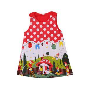 2018 Baby-Karikatur Tupfen-Kleid-Kind-Kind-Punkt-Kleider Cartoons Printed Prinzessin Baumwollkleidung