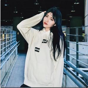 2019 18FW Split Box Logo Shift Hoodie Sweatshirt Sweatshirt Casual Street Pure Color Hooded Pullover Winter Couple Hoodie S--XL