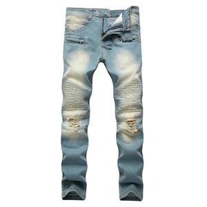 Zipper Männer Dekorative Jeans Löcher Ziehen Gelb Nostalgic Männer europäischen und amerikanischen High Street Stretch Pants