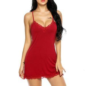 Womens Lace Nightdress Dtrap profunda V Neck Lingerie Hot Ladies Pijamas Robe Nightie vestido Sleepshirts