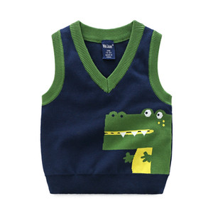 Autumn Spring New Kids Boy V-Neck Crocodile Sweater Vest Baby Cotton thick top Boys Cardigan Vest 2-7Years