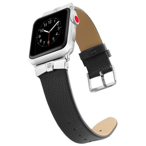 Stainless steel metal diamond-inlaid leather strap Watchband Smart watch strap for Iwatch Apple Watch 2PCS a lot