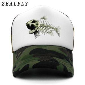 Espina de pescado gorro de los hombres del casquillo de pesca Esqueleto Cap Bone Fish Hip Hop gorras de béisbol de verano Fisher hombre gorro Hombres