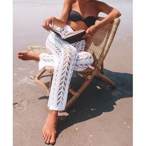 Melphieer 2020 ladies casual hollow beach trousers white black crochet beach pants summer holiday beachwear knitted bottom hot