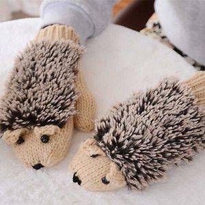 Kawaii Tier Handschuhe Mädchen-Frauen Warm Cartoon Hedgehog Handschuhe nette gestrickte Baumwolle Winter-Fäustlinge