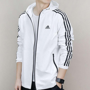 Hombres Adidas capa de la chaqueta de protección solar Ropa casual para hombre Chaquetas Tops con capucha impresa letra de la solapa de Negro rompevientos Streetwear S-XXL