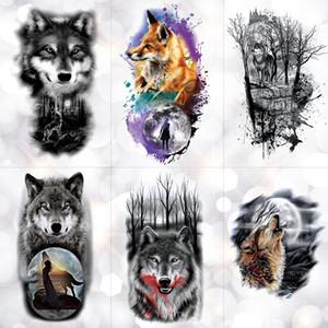Stammes-Wolf Mond Kiefer temporäre Tätowierung Aufkleber Fox wasserdichte Tätowierungen Wald Body Art Arm gefälschte Tätowierung Männer Frauen