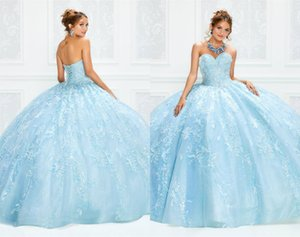 Sky Blue Glitter Evening Dresses Sweetheart Sleeveless Full Appliqued Lace Sequins Beaded Ball Prom Gown Sweep Train Gorgeous Party Gown