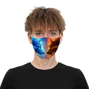 DHL Açık Partisi Baskı kedi Kurt Maske Yüz Maskeleri Anti Toz PM2.5 pamuk ağız Yüz çıkarılabilir maske + 2adet filtreyi Maske
