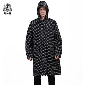 FGHGF 한 사이즈 롱 스타일 성인 레인 코트 남성 외투의 일종 블랙 도트 방수 트렌치 코트 레인 코트 여성 비옷 재킷 야외