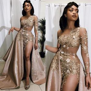 Black Girls Sheer maniche Prom Dresses lungo merletto 2020 Tulle Applique Split rilievo formale sweep treno partito convenzionale dei vestiti da sera BC2913