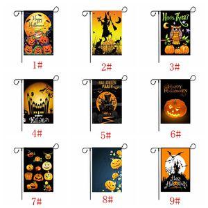 30 * 45cm Garden Halloween imprimé drapeau citrouille coloré drapeau bannière Happy Halloween Linen Tissu Jardin Drapeau Jardin Décoration DBC VT0858