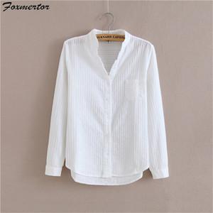 Foxmertor 100% cotone bianco camicetta camicia 2018 Primavera Autunno Camicette Camicie Donne lungo Sezione manica Casual Top Solid Pocket Y200103