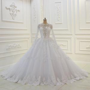 Nuevo diseñador de vestidos de novia 2020 Vestido De Noiva Top con cuentas Mangas largas Botón Volver Vestidos de novia vintage