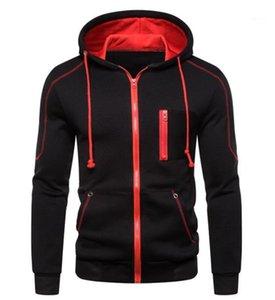 Casual Patchwork Mens Designer Hoodies Moda Sólidos Personalidade machos Cor Vestuário Zipper Hoodies Designer bolso Mens