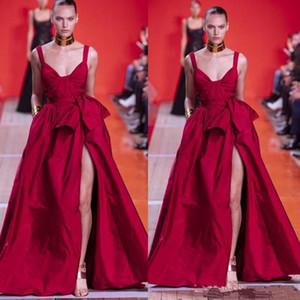 2020 Sexy Nova Elie Saab Red Prom Dresses Spaghetti Frente Dividir Ruffles Pagenat celebridade Vestidos A Linha desfile de moda vestido de noite