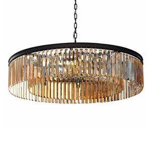 American Black Iron Art Crystal Chandeliers Led Pendant Lighting Dining Room Hanging Fixtures Smoke gray Crystal 100-240V